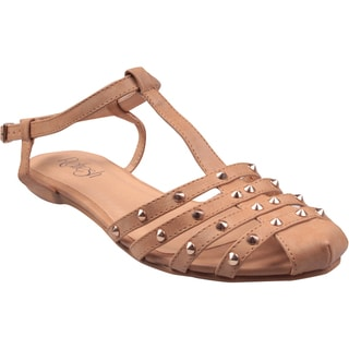 Refresh by Beston Women's 'Bunny' T-Strap Tan Gladiator Sandals