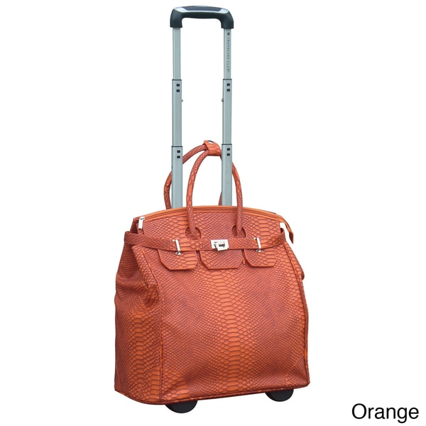 Traveler 39 s club ultra chic 18 inch faux leather python rolling laptop tote free shipping today
