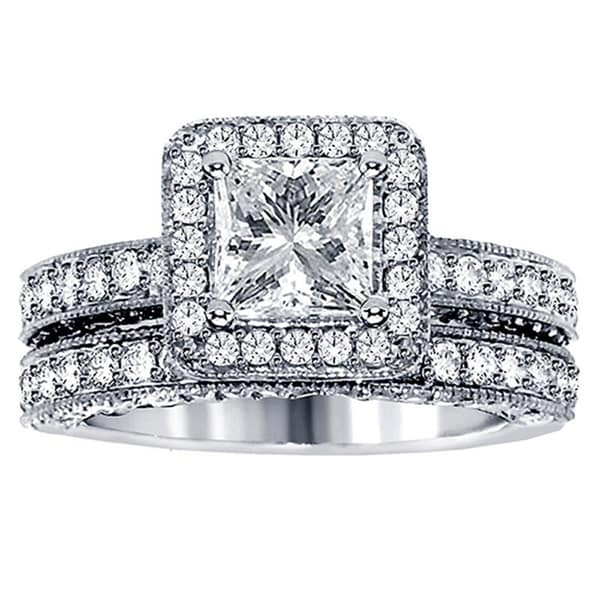 3 1/2ct TDW Halo Clarity Enhanced Diamond Bridal Ring Set (F-G, SI1-SI2)