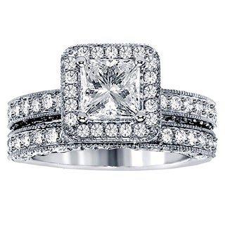 14k or 18k White Gold or Platinum 3 3/4ct TDW Halo Clarity Enhanced Diamond Bridal Ring Set (F-G, SI1-SI2)