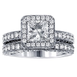 14k White Gold 3 3/4ct TDW Halo Clarity Enhanced Diamond Bridal Ring Set (F-G, SI1-SI2)