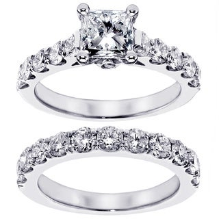 14k White Gold 3ct TDW Princess Diamond Engagement Ring (F-G, SI1-SI2)