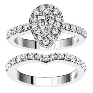 14k White Gold 2 1/2ct TDW Pear Shape Diamond Bridal Ring Set (F-G, SI1-SI2)