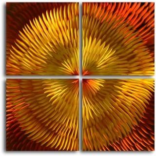 'Radiated Dahlia Desires' Handmade 4-piece Contemporary Sculpture Metal Wall Art Set