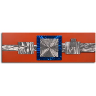 'Dimensional metal geometrics' Handcrafted Metal on Hand Painted Canvas Wall Decor