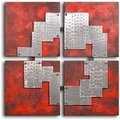 Handcrafted &#39;Tin Pieces on Red&#39; Canvas Wall Art