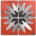 Handcrafted &#39;Metal Petal Frame on Red&#39; Canvas Wall Art