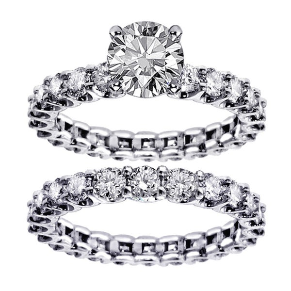 White Gold 5ct TDW Round Diamond Clarity Enhanced Bridal Ring Set (F-G, SI1-SI2)