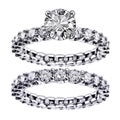 14k White Gold 5ct TDW Round Diamond Clarity Enhanced Bridal Ring Set (F-G, SI1-SI2)