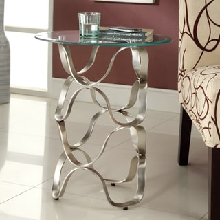 TRIBECCA HOME Ryde Swirl Tempered Glass Top End Table