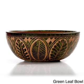 Etched Decorative Leaf Bowl Pottery (Nicaragua)