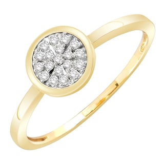 10k Yellow Gold 1/10ct TDW Diamond Cluster Ring (H-I, I1-I2)