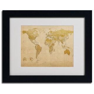 Michael Tompsett 'World Map Antique' Framed Giclee Print Matted Art