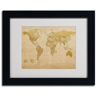 Michael Tompsett 'World Map Antique' Framed Giclee Print Matted Art