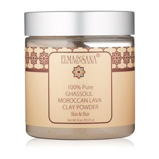 Elma & Sana Moroccan Ghassoul Mineral Clay powder Mask for skin & Hair 8-ounce Powder