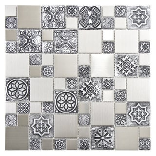 SomerTile Anvil Versailles 11.75-inch Square Stainless Steel Over Porcelain Mosaic Wall Tile