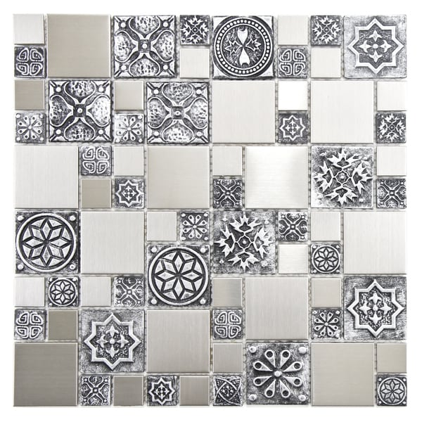 SomerTile 11.75x11.75-inch Anvil Versailles Square Stainless Steel Over Porcelain Mosaic Wall Tile (Case of 10)