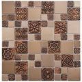 SomerTile Anvil Copper Versailles 11.75-inch Square Stainless Steel Over Porcelain Mosaic Wall Tile