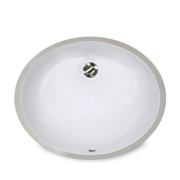 14 x 11-inch White Undermount Ceramic Oval Bathroom Sink