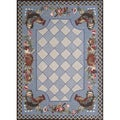 Rooster Blue Indoor Rug (7'3 x 9'3)