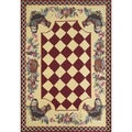 Rooster Red Indoor Rug (3'3 x 5')