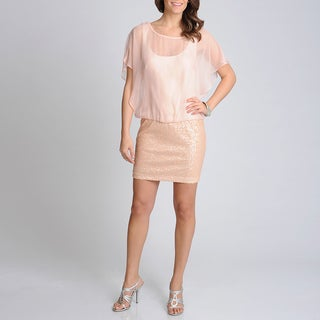 Xscape Womens Blush Sequin Embellished Blouson Mini Dress
