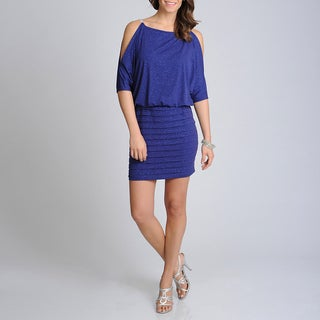 Xscape Women's Navy Glittery Blouson Cocktail Dress