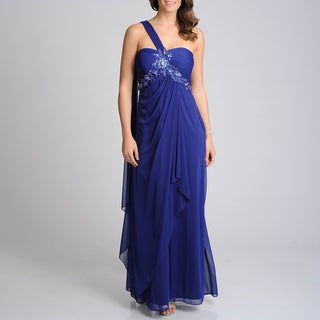 Xscape Women's Navy Embellished Applique Evening Gown