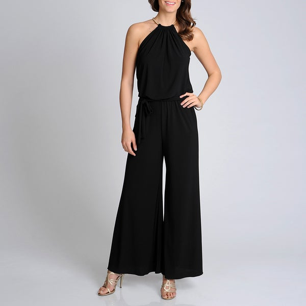 Xscape Women's Black Halter Wide Leg Jump Suit