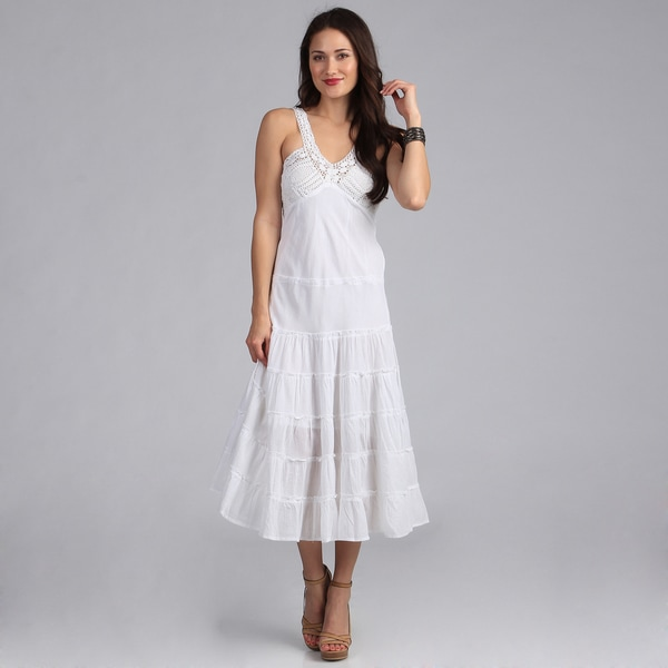 Sasha Collection Women's White Crochet Bustline Maxi Dress