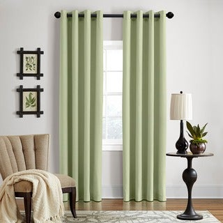 Grand Luxe Sage All Linen Gotham Grommet Window Panel