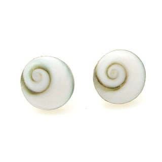 Round 10mm Swirl Shiva Shell Silver Post Earrings (Thailand)