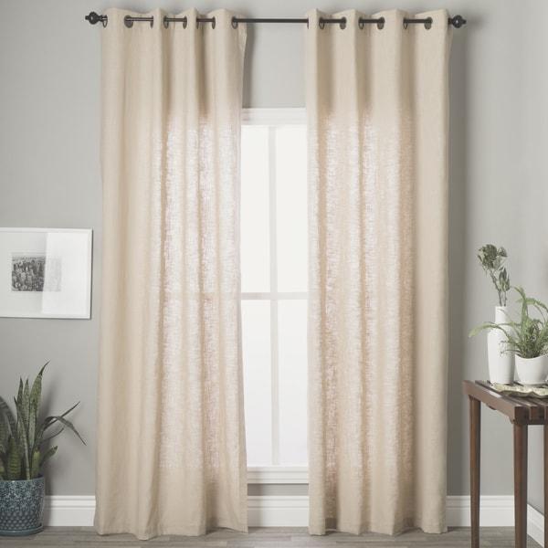 Grand Luxe Khaki Linen Gotham Grommet Window Panel