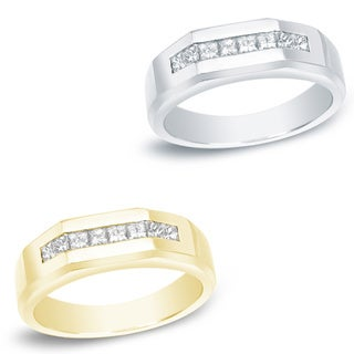 Auriya 14k Gold Men's 7/8ct TDW Princess Diamond Ring (H-I, SI1-SI2)