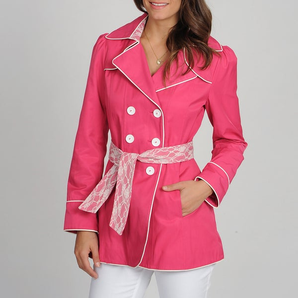 Betsey Johnson Women's Pink Double-breasted Belted Trench
