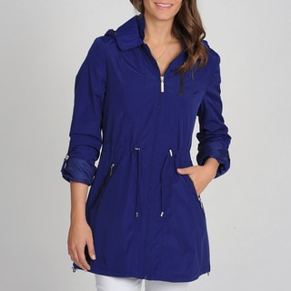Nautica Women's Grecian Blue Drawchord Hooded Anorak Jacket