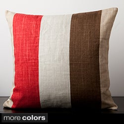 Decorative Lotus Striped Square 22-Inch Square Throw Pillow
