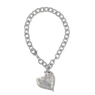 Handmade Vintage Spoon Inspired Heart Floral Charm Bracelet
