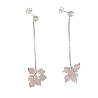 Sterling Silver FW Pearl and Rose Quartz Cluster Drop Earrings (Italy)