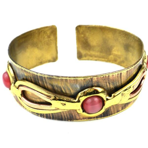 Handmade First Blush Pink Tiger Eye Narrow Brass Cuff (South Africa)