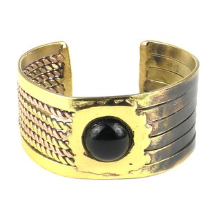 Handmade Onyx Ethnic Brass and Copper Cuff (South Africa)