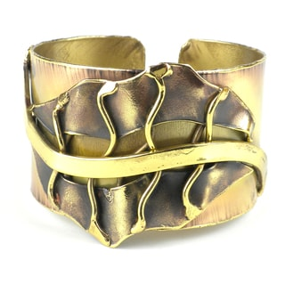 Handmade Fall Leaf Brass Cuff (South Africa)