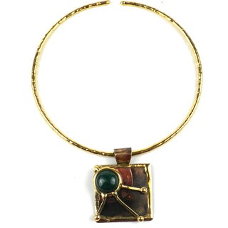 Handmade Green Jade Rays Brass Pendant Necklace (South Africa)