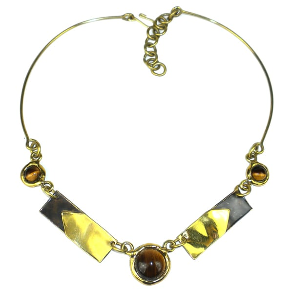 Handcrafted Tiger Eye To The Point Brass Necklace (South Africa)