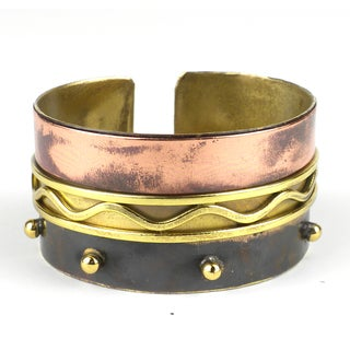 Handmade Trifecta Brass and Copper Cuff (South Africa)