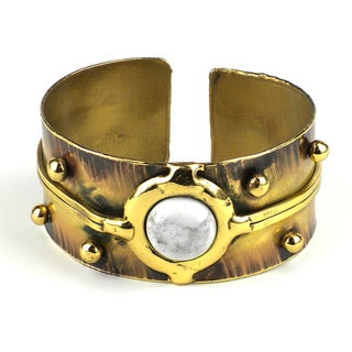Handcrafted Howlite Disk Brass Cuff (South Africa)