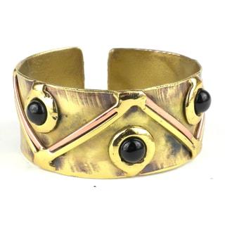 Handmade Onyx Triangle Brass Cuff (South Africa)