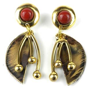 Handmade Red Jasper Pod Brass Post Earrings (South Africa)