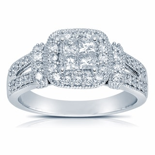 14k White Gold 3/4ct TDW Certified Diamond Engagement Ring (H-I, SI1-SI2)