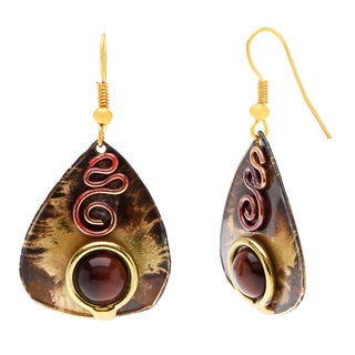 Handmade Earthy Red Tiger Eye Guitar Pick Brass Earrings (South Africa)